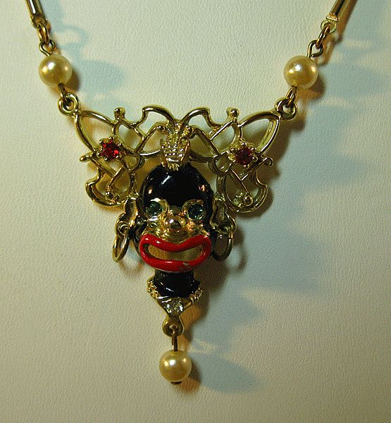 Blackamoor Necklace with Rhinestone Accents