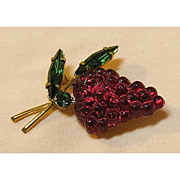 Luscious Austria Red Glass Fruit Pin Figural Pin