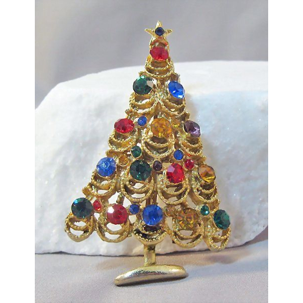 Bright and Lacy Rhinestone Adorned Christmas Tree Pin