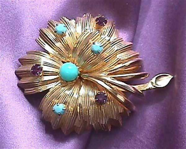 Gorgeous WARNER of New York Pin with Turquoise and Amethyst Colored Stones