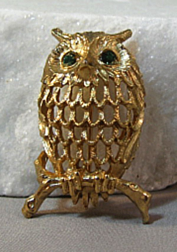 Owl Pin by Napier Green Rhinestone Eyes