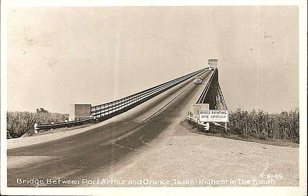 Real photo postcard of bridge between port arthur and orange texas antique ables ruby lane Home furniture port arthur hours