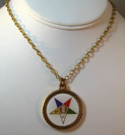 Eastern Star Gold-tone Necklace with Coin on Reverse