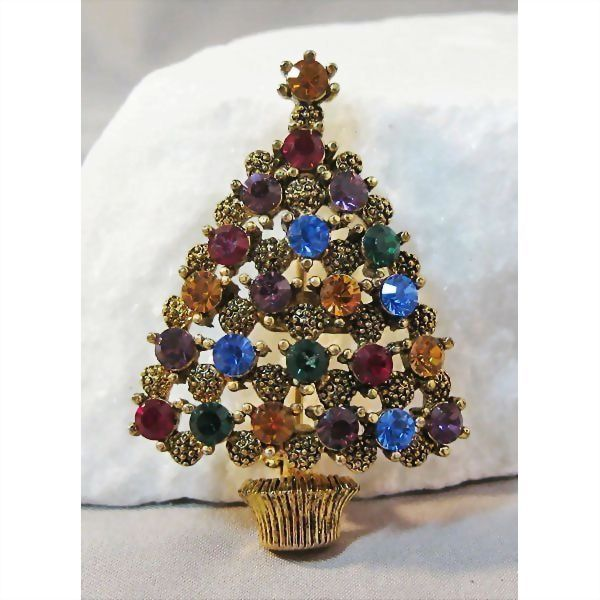 Bright and Beautiful Eisenberg Ice Christmas Tree Pin Rhinestones