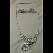 Sparking Krementz Necklace and Earrings Set - Demi Parure