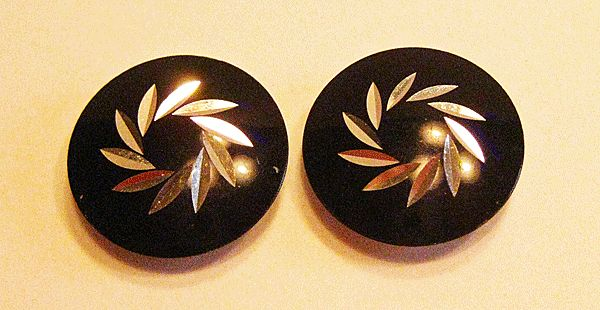 Black and Silver-tone Round Button Earrings