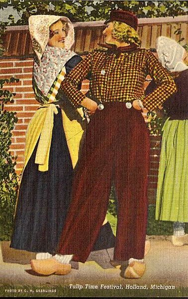 Postcard of Tulip Time Festival in Holland Michigan - Dutch Couple Dancing