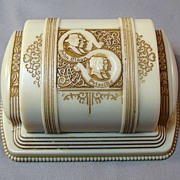 Vintage Double Wedding Engagement Ring Box - John Alden and Priscilla