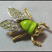 Petite Fly Pin with Chartreuse Green Body and Rhinestone Wings