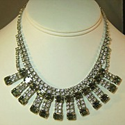 Absolutely Glorious Clear and Smoke Rhinestone Necklace