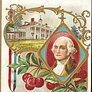 George Washington Postcard - Father of Our Country with Mt. Vernon and Cherry Branch