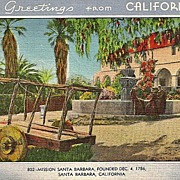 California Postcard Mission Santa Barbara Greetings from California