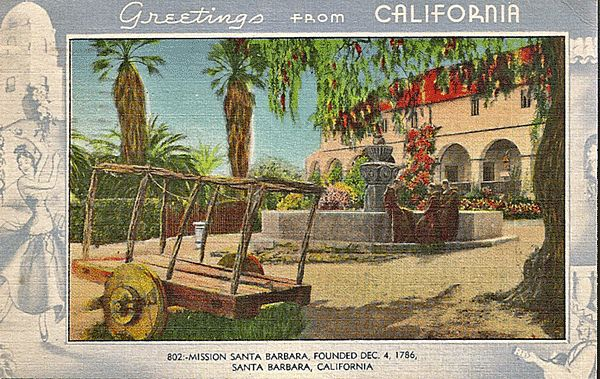California postcard mission santa barbara greetings from california california postcard mission santa barbara greetings from california antique ables ruby lane m4hsunfo Gallery