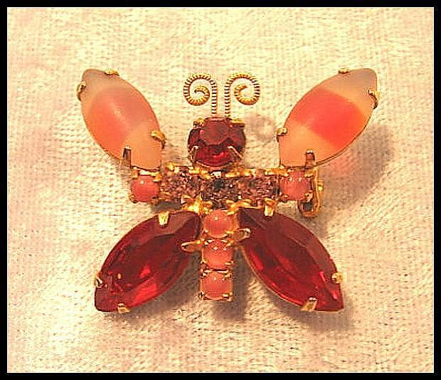 Petite Red and Pink Butterfly Pin Brooch Rhinestone