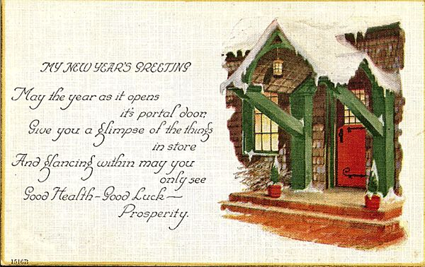 New Year's Greeting Postcard from antique-ables on Ruby Lane