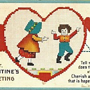 Wonderful Ellen Clapsaddle Valentine Postcard with Needlepoint Design
