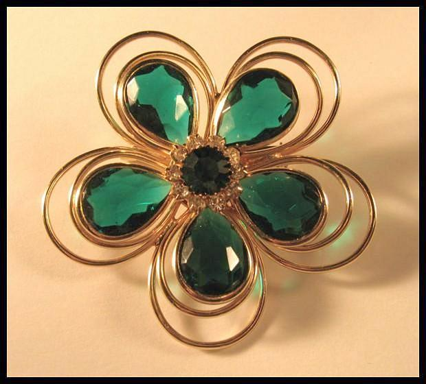 Abstract Flower Pin with Large Emerald Green Rhinestones