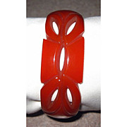 Carmel Carved and Pierced Bakelite Bangle Bracelet