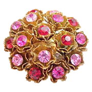 PINK/RED Rhinestone Flower Pin/Earrings Set
