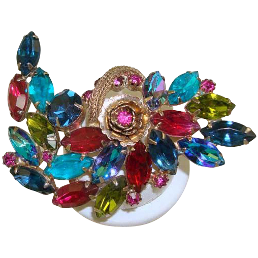 Vintage Schrager Multi-Color Rhinestone Pin/Brooch