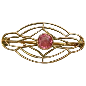 Victorian 10K Gold Pin w/Pink Stone