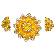 Awesome Amber Aurora Borealis Rhinestone Pin/Earrings Set