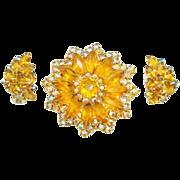 Amber Aurora Borealis Rhinestone Pin/Earrings Set