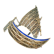 Sterling Filigree Enamel Sailing Boat Pin