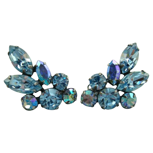 Vintage Blue Aurora Borealis Rhinestone Clip Earrings