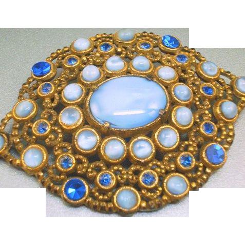 Vintage Blue Moonstone Rhinestone Brooch