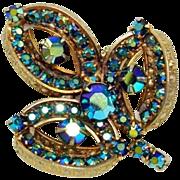 Vintage Peacock Blue Aurora Borealis Rhinestone Brooch