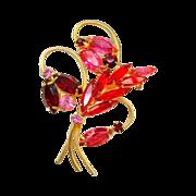 Vintage Red Pink Rhinestone Brooch