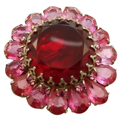 Vintage Red Pink Rhinestone Flower Brooch