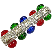 Art Deco Multi-Color Glass & Rhinestone Brooch