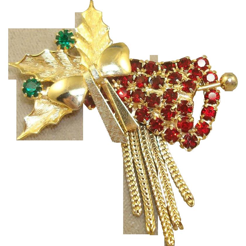 Hobe Christmas Bell Brooch