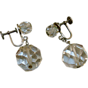 Vintage Sterling Faceted Crystal Earrings