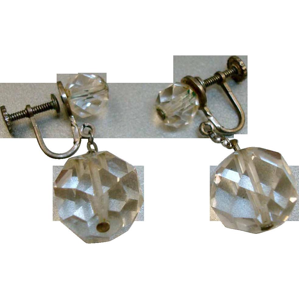 Vintage Sterling Faceted Crystal Earrings