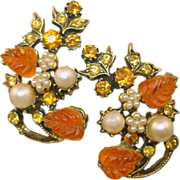 Hollycraft Orange Molded Glass Rhinestone Earrings
