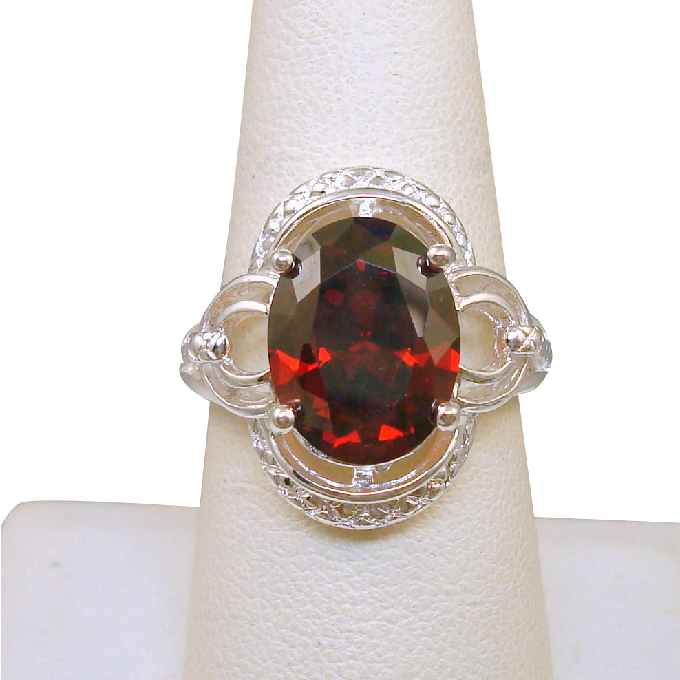 Sterling Red Rhinestone Ring