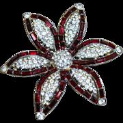 Vintage Rhinestone Flower Pin