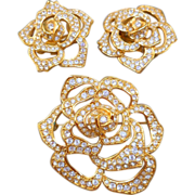 Elizabeth Taylor Pave Rose Brooch/Earrings
