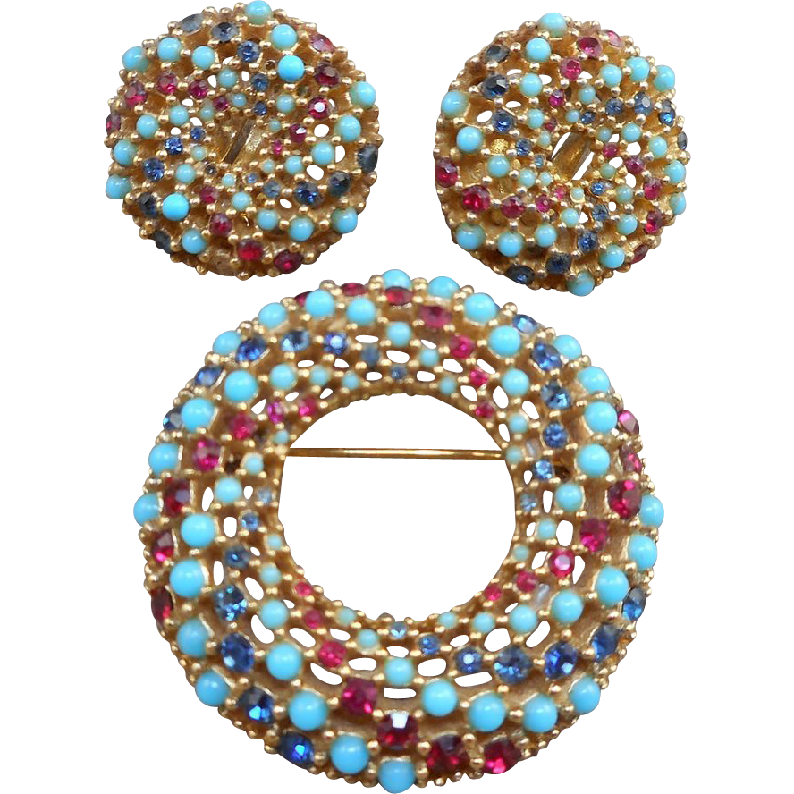 Ciner Pin Earrings Set