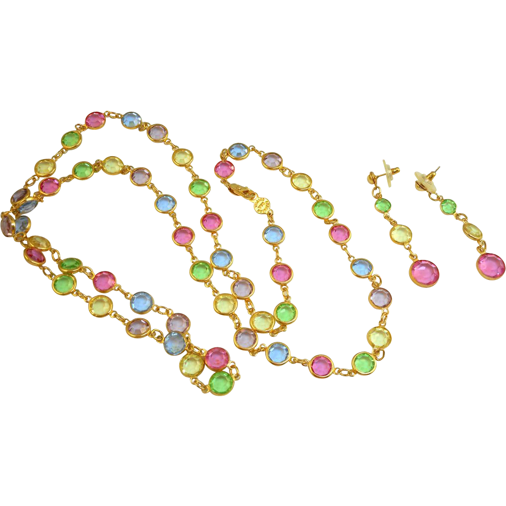 Austrian Pastel Crystal Necklace Earrings Set