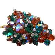 Vintage Faceted Crystal Leaf Brooch