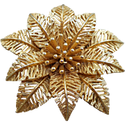Signed ART Poinsettia Brooch