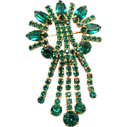 Emerald Green Rhinestone Fringed Brooch