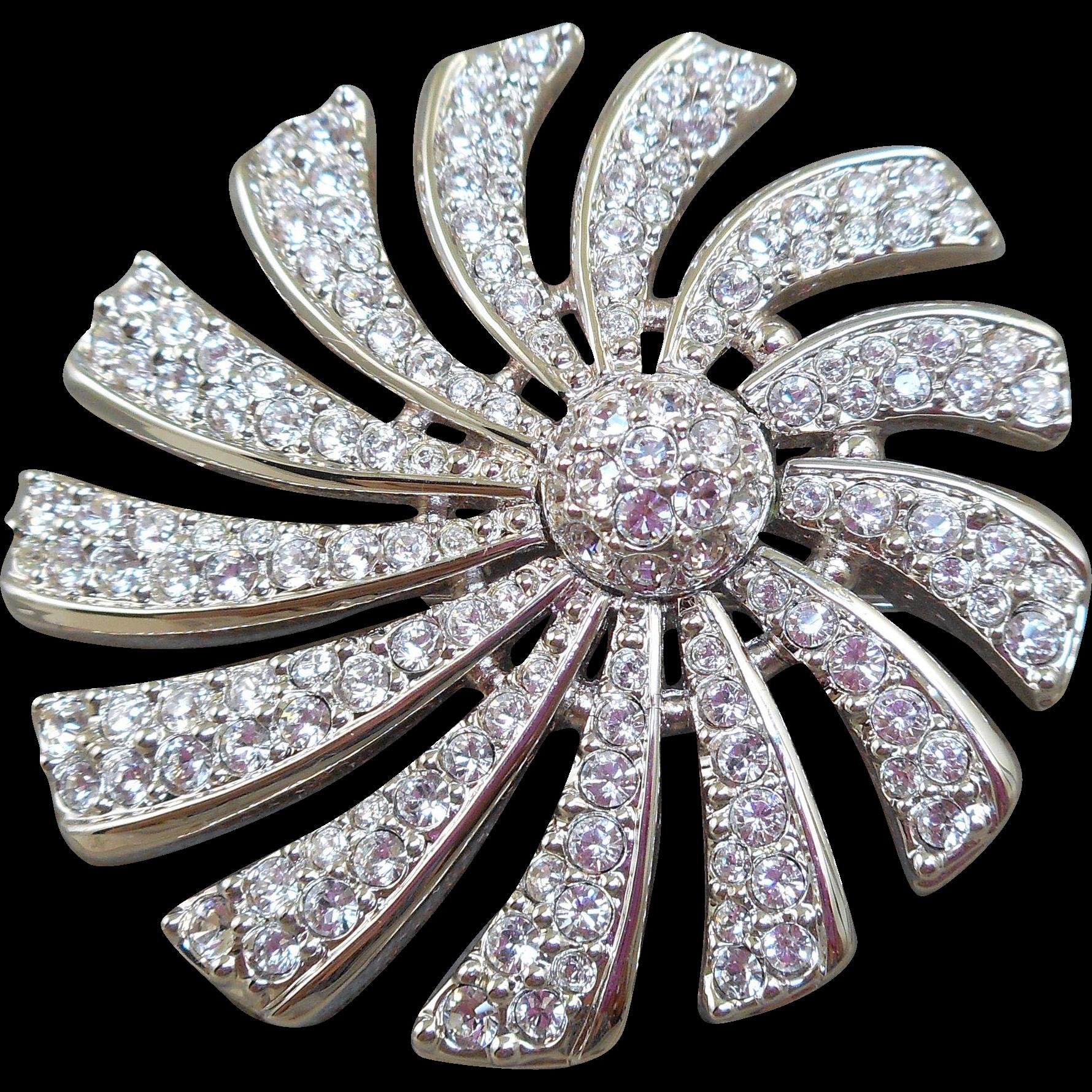 Swarovski Crystal Pinwheel Flower Brooch
