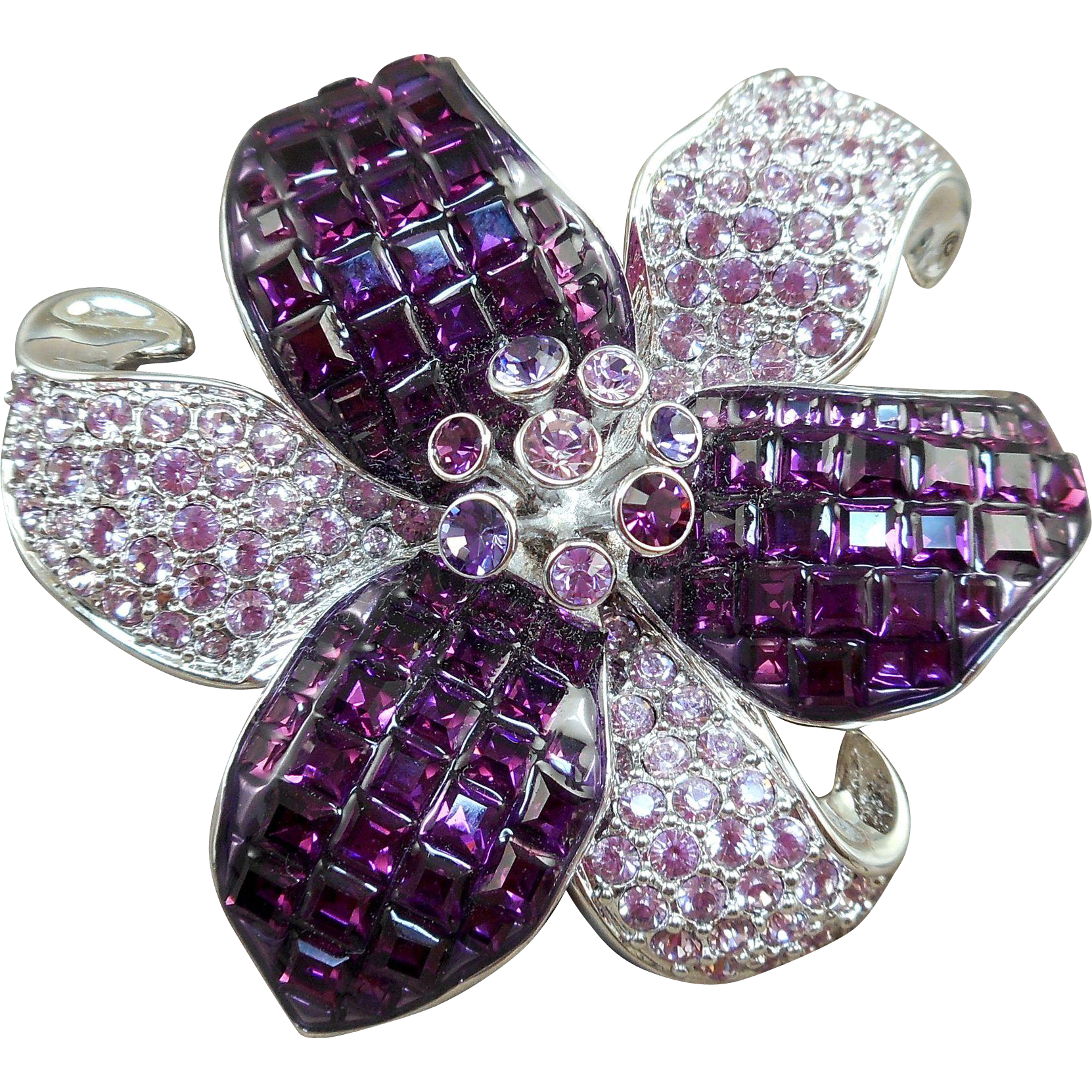 large inspired floral violet treasures range brooch