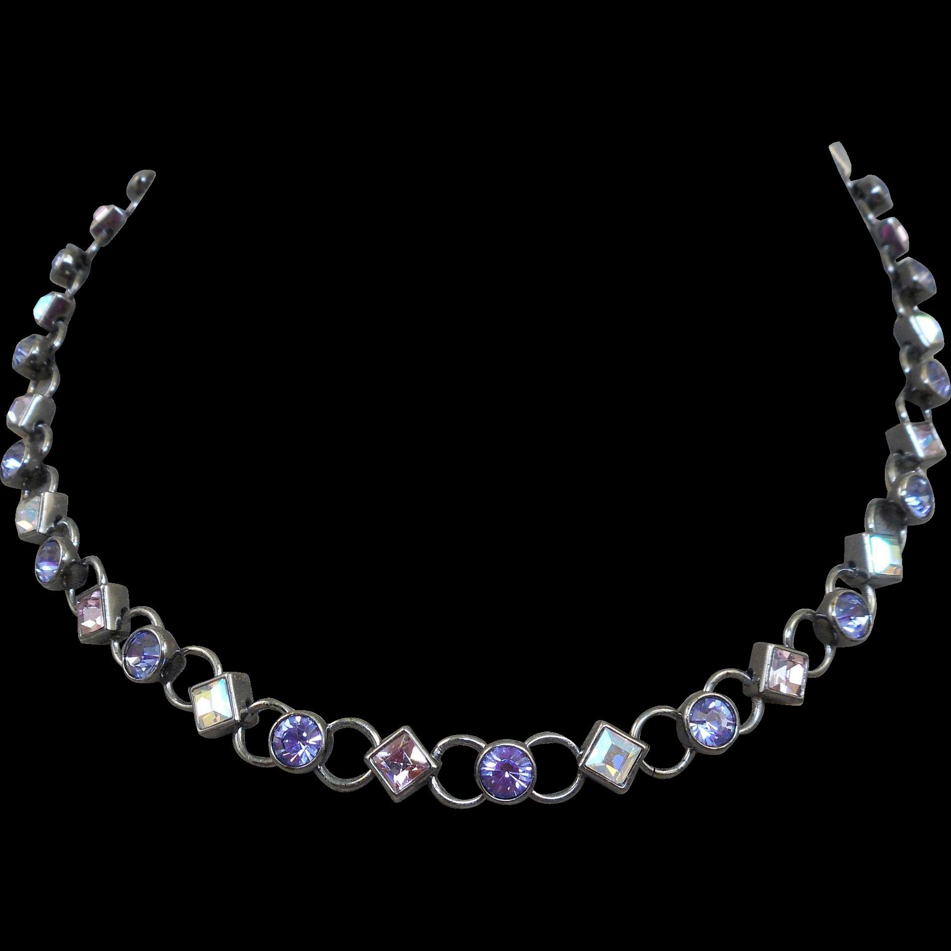 Givenchy Purple Rhinestone Necklace