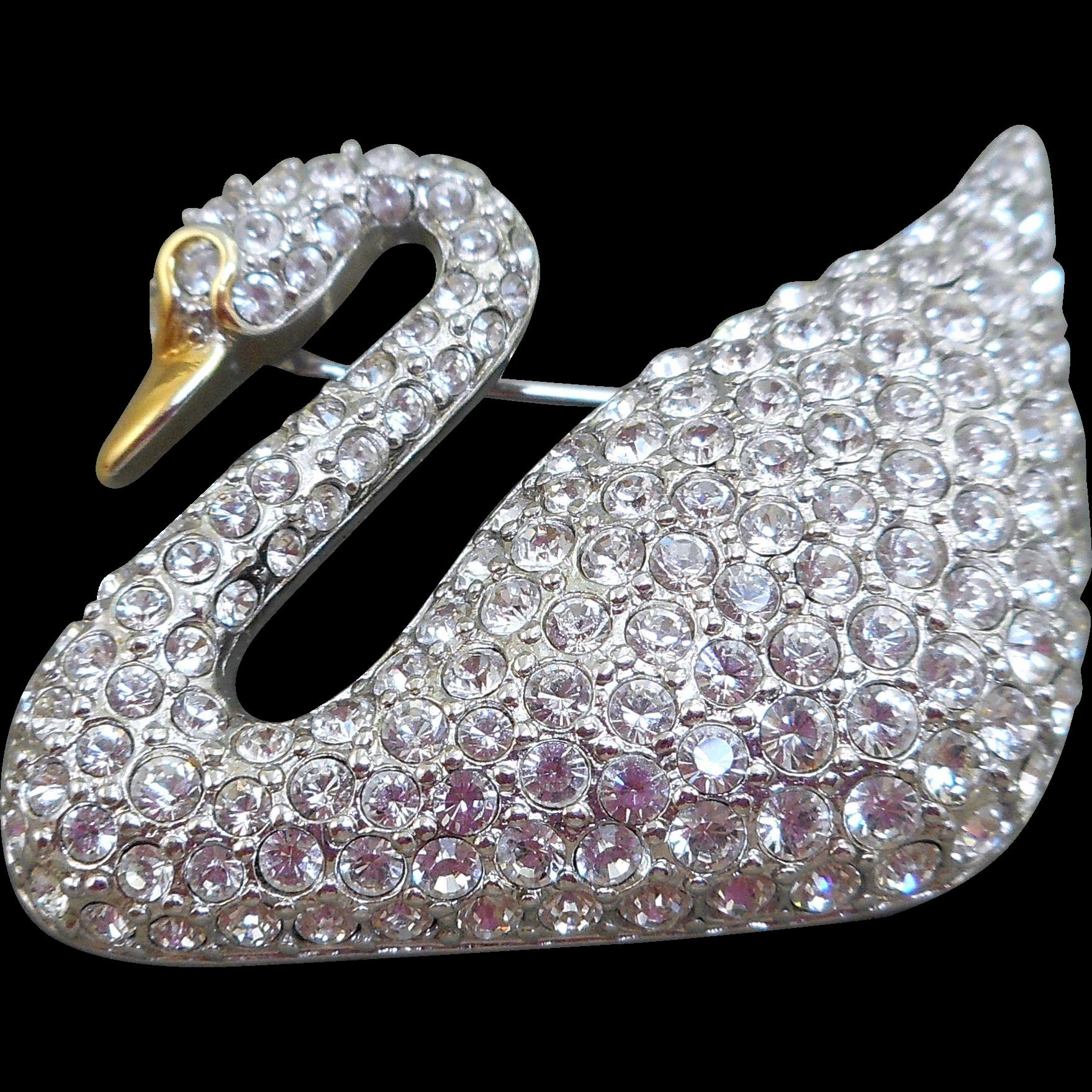 Swarovski swan brooch from antiqueali on ruby lane for Swarovski jewelry online store
